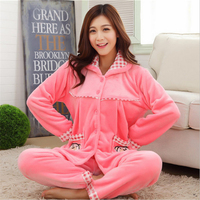 Winter Flannel Pajamas Pink Bear Decoration Women Collar Lapel Button Thickening Long Sleeved Trousers Cute Girl