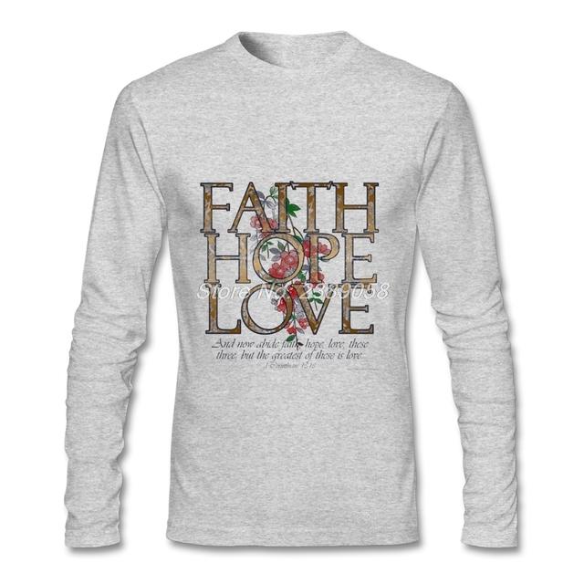 Latest Men's T Shirt Christian Religion Comfortable Long Sleeve O-Neck Tee Organic Cotton T shirt For Men