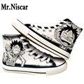 Mr. Niscar Anime One Piece Luffy Homens dos homens Sapatos Casuais Sapatos de Graffiti Dos Desenhos Animados Sapatas de Lona Alta Superior Lace-Up Planas Respirável Sapatos Masculinos