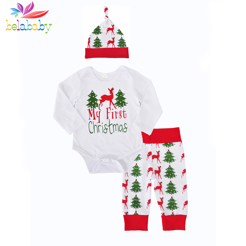 Belababy Newborn 1-3Y Children clothing sets Baby Clothes sets Long Sleeved Christmas suit girls Girls Boys kids festival gifts