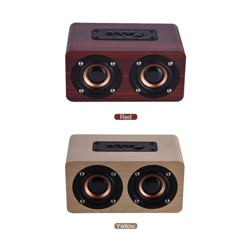 Mini Portable Wooden Bluetooth Speaker Wireless Stereo Loudspeakers with 2 Horns
