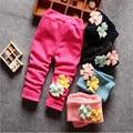 Polainas Calientes Del Invierno Del Bebé recién Nacido Niña de las Flores Princesa Punto de Algodón Caliente Pantalones Niños Velvet Espesar Pantalones Ropa