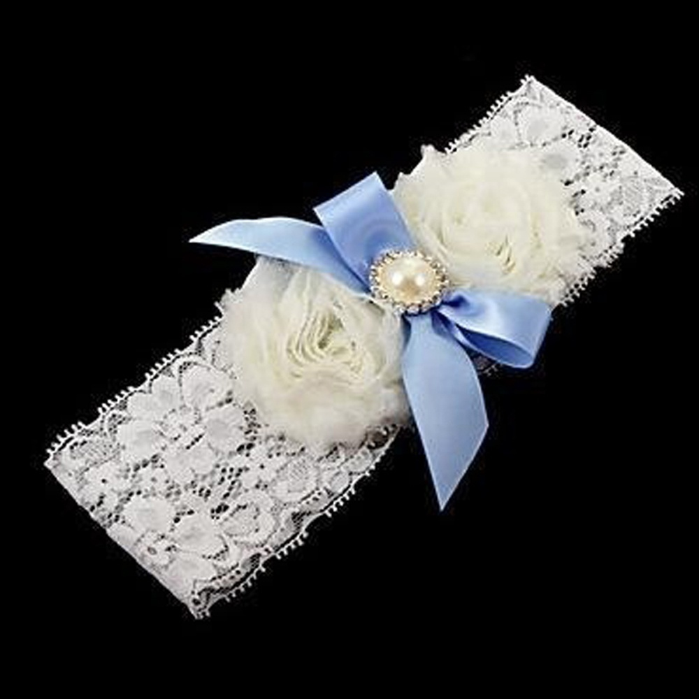 Elegant White Lace Bridal Garter Blue Pearl Bowknot