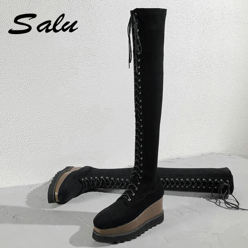 Salu Hot Women Over The Knee Boots Motorcycle Boot Winter Ladies Fashion Square Heel Boots Shoes Thigh High Suede Long Boots women boots 2016 autumn winter ladies fashion platform high heel boots shoes over the knee thigh high suede long boots brand