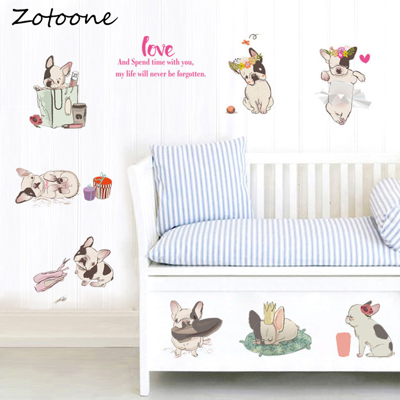 ZOTOONE Cute Dog French Bulldog Wall Stickers Hildrens Room Kindergarten Classrooms Wall Decor Stickers Refrigerator Sticker