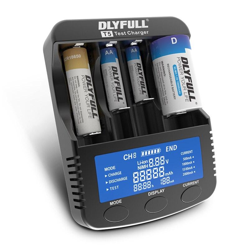 DLYFULL T1 T4 T5 1,2 V AA AAA AAAA NiMH batería de litio cargador LCD 3,7 V 18650 18350 16340 10440 14500 26650 20170 32650 cargador