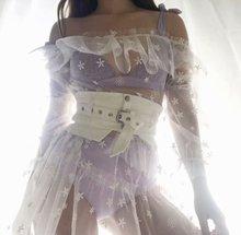 Sheer Mesh Mini Dress Women Flare Sleeve Embroidery Off Shoulder Dresses White Perspective Summer Beach Dress недорого