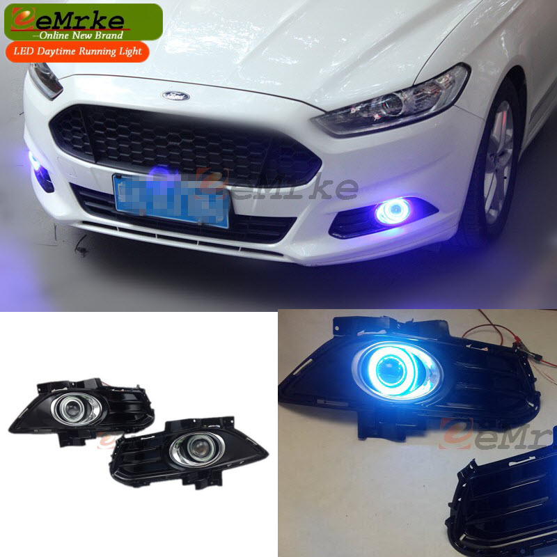 Car-Styling For Ford Fusion / Mondeo MK V COB Angel Eyes DRL Fog Lamp Daytime Running Lights H11 55W Halogen Bulbs Kits цены