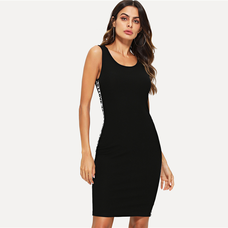 1528276175571175873  SweatyRocks Distinction Letter Tape Tank Gown Scoop Neck Bodycon Stretchy Clothes Girls Clothes Women Summer time Horny Gown HTB1