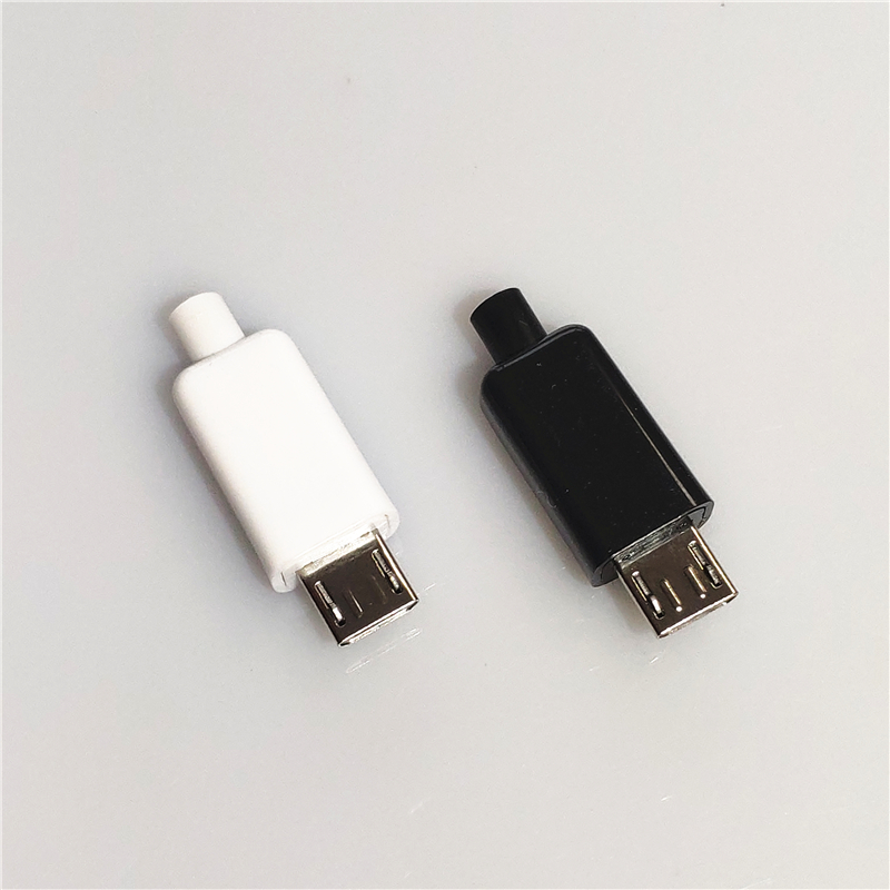10PCS/LOT YT2153B  Micro USB 4Pin Male Connector Plug Black/White Welding Data OTG Line Interface DIY Data Cable Accessories