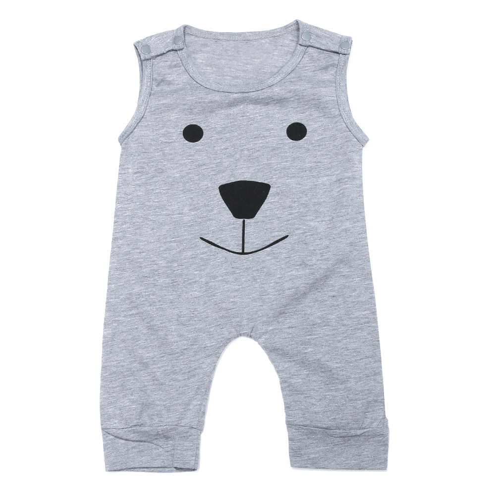 Summer Newborn Baby Kids Boys Sleeveless Cartoon Bear Printed Cotton   Romper   Jumpsuit Outfit Clothing Baby Boy Clothes 0-3Y
