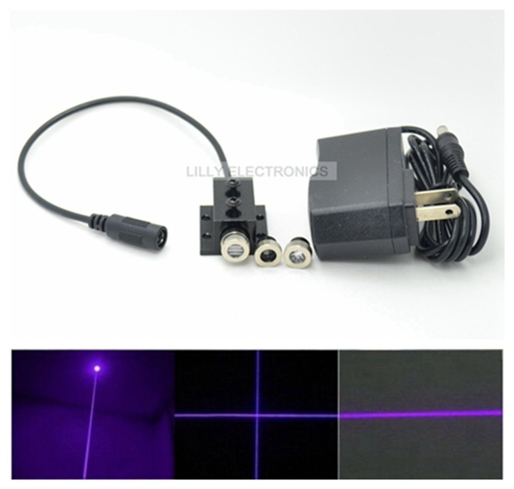 Промышленный 3 в 1 точечный/линейный/перекрестный 100 нм мВт Фиолетовый Лазерный диодный модуль с адаптером