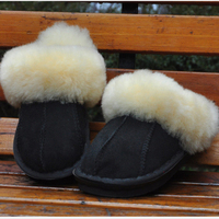 100 Wool Sheepskin Luxury Winter Plush Leather Furry Flip Flops House Fuzzy Fur Soft Australian Slippers