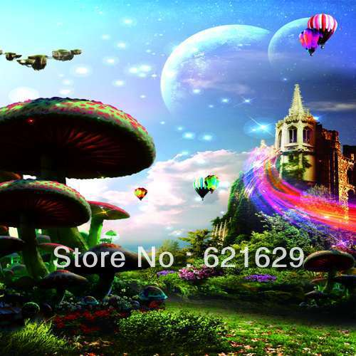 Fantasy mushrooms 8 x8 CP Computer painted Scenic Photography Background font b Photo b font Studio
