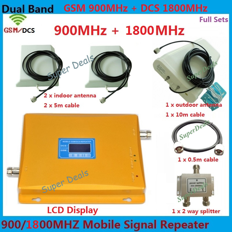 LCD Display GSM 900 4G LTE 1800 Dual Band Repeater 65dB GSM DCS Cellular amplifier Mobile Signal Booster dual band 900/1800mhz