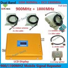 ЖК-дисплей Дисплей GSM 900 4 г LTE 1800 dual band Repeater 65dB GSM DCS Сотовая связь усилитель мобильный усилитель сигнала Band 900/1800 мГц