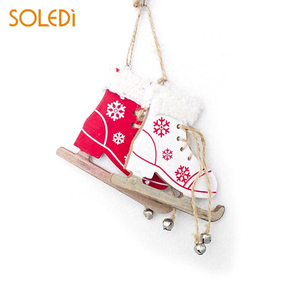 Unique Xmas Tree Ornament Wooden Christmas Day Decoration Creative Christmas Skates Pendant Winter Ski Shoes Pendant Door Diamond