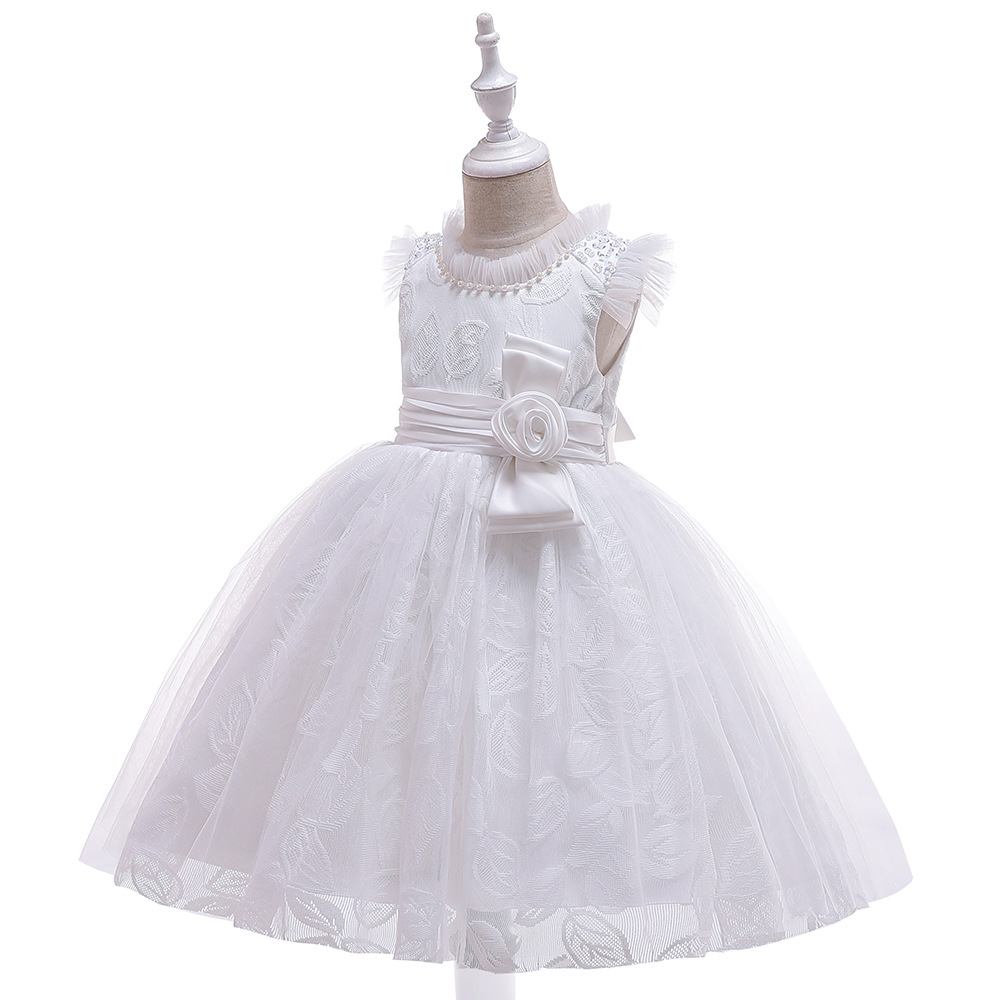 New Ballgwon   Flower     Girl     Dress   for Wedding 2019 White Lace Tutu   Dresses   Toddler Pageant   Dresses   In Stock
