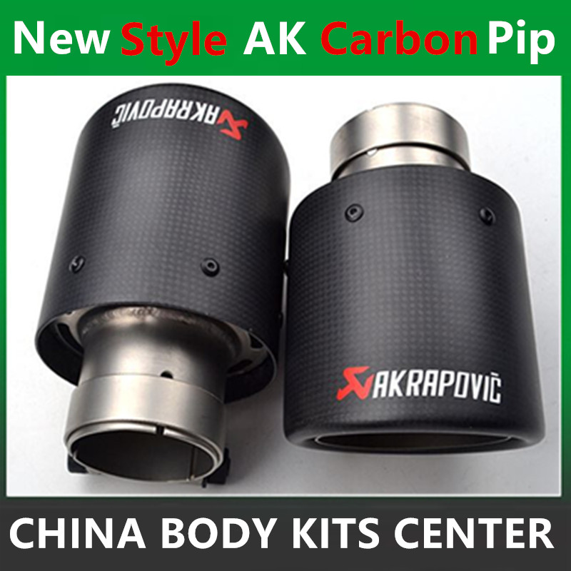 One Pair New style 63mm Inlet 114mm Outlet Akrapovic Carbon Fiber Exhaust Tip/Muffler End Pipes Stainless Steel Car Exhaust Tips deep cut exhaust muffler tips for harley bagger touring pipes 4