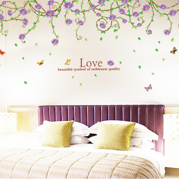 New Arrival Purple Flower Rattan Wall Sticker Flowers Scroll Wall Decals  Home Bedroom Decoration Wall Art Part 45