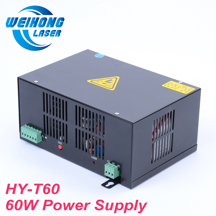 HY-T60 60W Co2 Laser Power Supply AC110V/220V for Co2 Laser Engraving and Cutting Machine high voltage flyback transformer hy a 2 use for co2 laser power supply