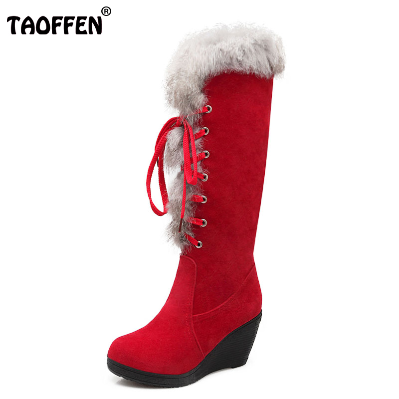 TAOFFEN 4 Colors Women Knee Wedges Boots Cross Strap Thick Fur Boots Warm Shoe Winter Cold Snow Botas Woman Footwear Size 34-39