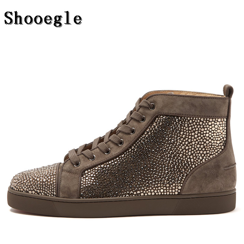 SHOOEGLE  Newest Men Rhinestone Sneaker High-top Diamond Lace-up Ankle Boots Zapatillas Hombre Casual Shoes Man Free Shipping new spring men shoes trainers leather fashion casual high top walking lace up ankle boots for men red zapatillas hombre