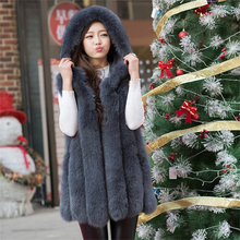 Bravalucia Vintage Real Fox Fur Vest with Hood Plus Size Gilet Women Fashion Coat Girl Thick Jacket