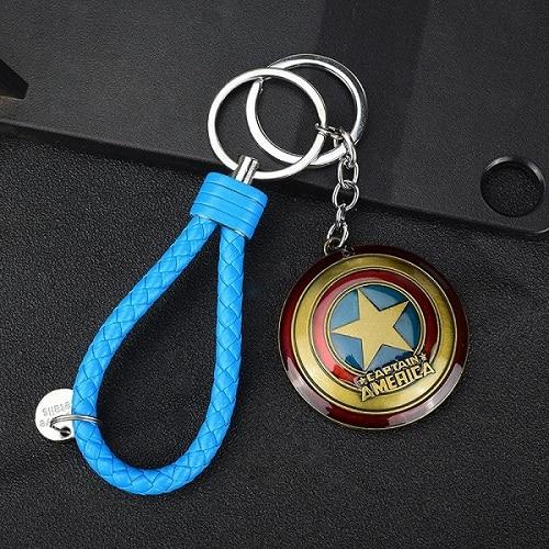 2019 Diy Handmade Keyfob Metal Avengers Alliance Captain America Shield Keychain Marvel Movie Model Car Keyring Superhero in Key Chains from Jewelry Accessories