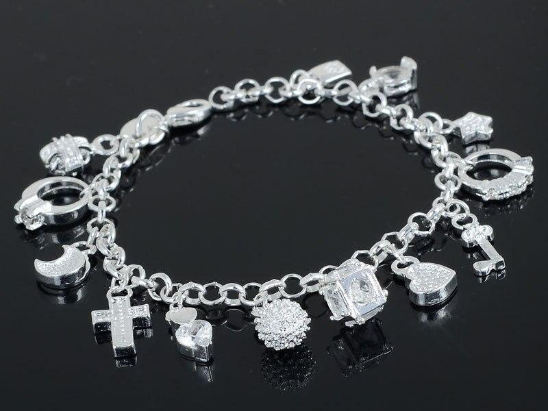 Fashion Women Silver Plated 13 Pendants Bracelets Jewelry Silver Chain Bracelet for Women Cross Heart Pendants Charm Bracelets in Charm Bracelets from Jewelry Accessories