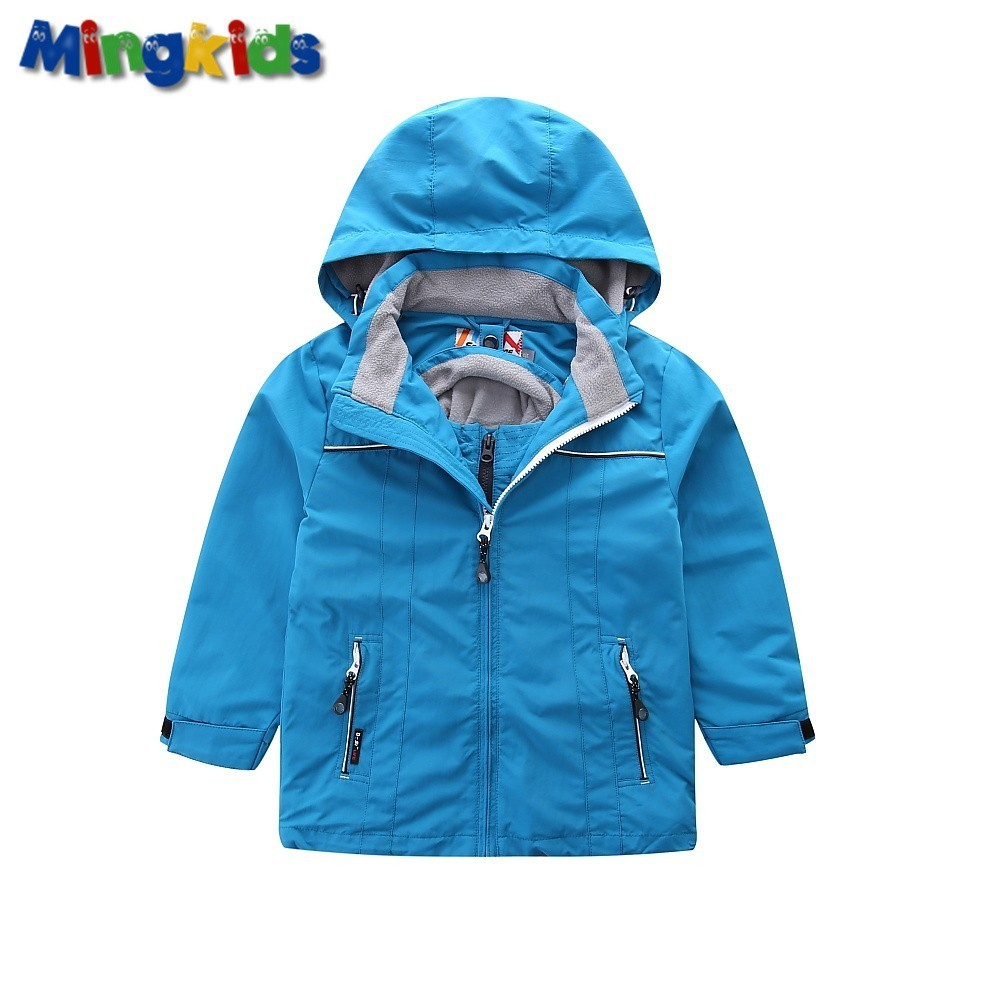 Mingkids Boy Windbreaker Jacket Outdoor 2 in 1 Warm Coat Waterproof with Detachable Fleece Lining European Size German Quality