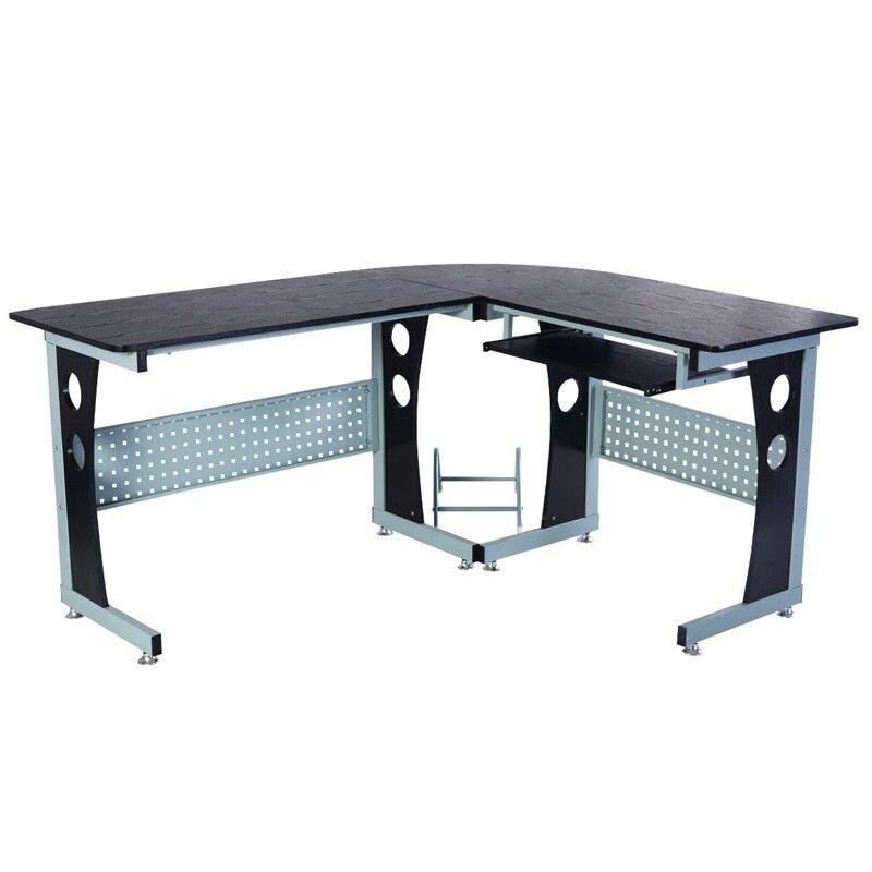 Haute qualité bois grand l-forme coin ordinateur bureau robuste en acier Construction grand espace de rangement clavier tiroir Table HW51233