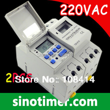 Free Shipping DIN RAIL DIGITAL PROGRAMMABLE TIMER SWITCH 220VAC 16A 2pcs/lot, SINOTIMER BRAND
