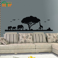 DCTOP 자연 숲 동물 코끼리 기린 예술 벽 스티커 비닐 트리 이동식 홈 장식