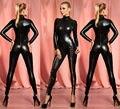 Черные Блестящие ПВХ CATSUIT Женщина-Кошка Дамы Необычные Платья КОСТЮМ