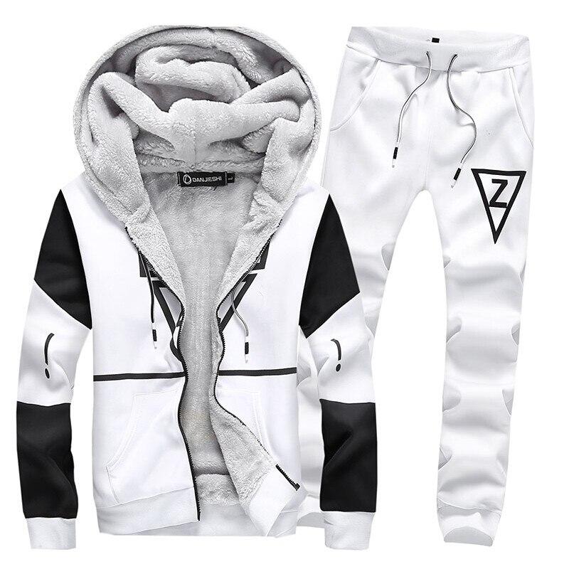Noir hiver chaud sport costume hommes deux pièces ensembles molleton survêtement 2018 sweat grande taille 5XL ensemble de vêtements de sport