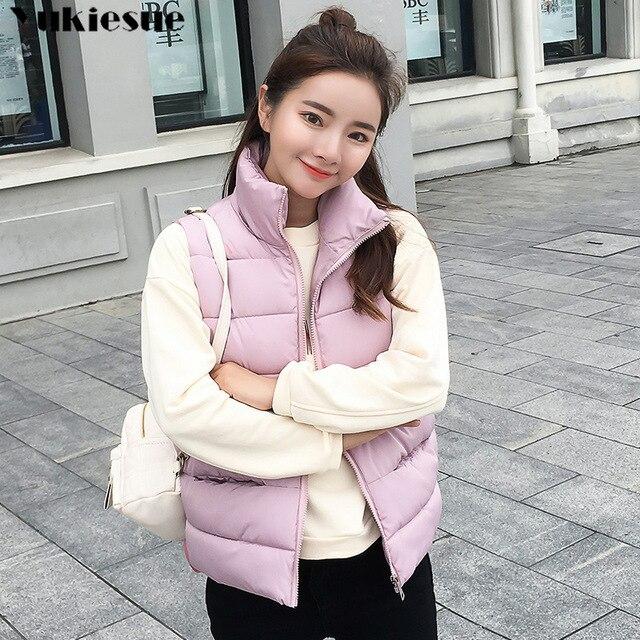 e992d481d38 Womens puffer vest jacket sleeveless 2018 women pocket spring winter autumn plus  size outwear vintage waistcoat ladies coats