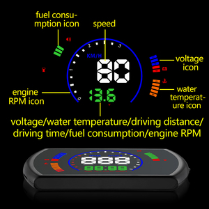 Image 3 - Pantalla head up GEYIREN S600, proyector de velocidad de coche hud, interfaz OBD, velocidad HUD, voltaje RPM, temperatura del agua, consumo de combustible