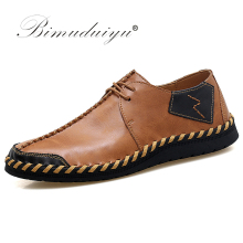 BIMUDUIYU Brand Fashion Breathable Shoes Leather Moccasins Flats Mens Casual zapatos de hombre casuales cuero