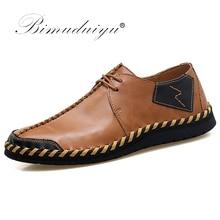 BIMUDUIYU Brand Fashion Breathable Shoes Leather Shoes Moccasins Flats Mens Casual Shoes zapatos de hombre casuales de cuero цены онлайн