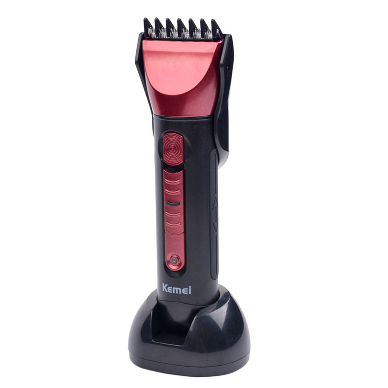 Kemei KM-8058 Waterproof Electric Trimmer Shaver Rechargeable Beard Trimmer Nose Cutting Hairstyle Trimmer Red