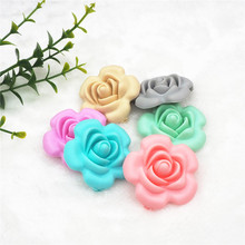 Chenkai 10pcs BPA Free Silicone Rose Flower Pendant Teether Beads DIY Handmade Baby Rattle Pacifier Dummy Sensory Chewing toy