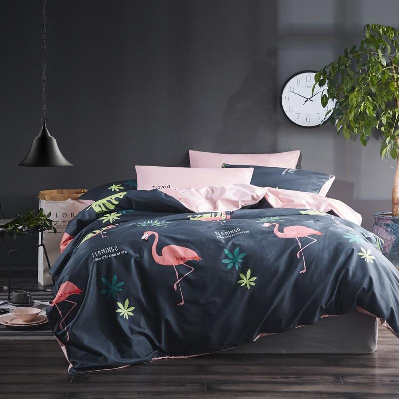 2018 flamingo bedding sets king size jogo de cama drap de lit small fresh cotton bed linen set anime bed sheets bedclothes