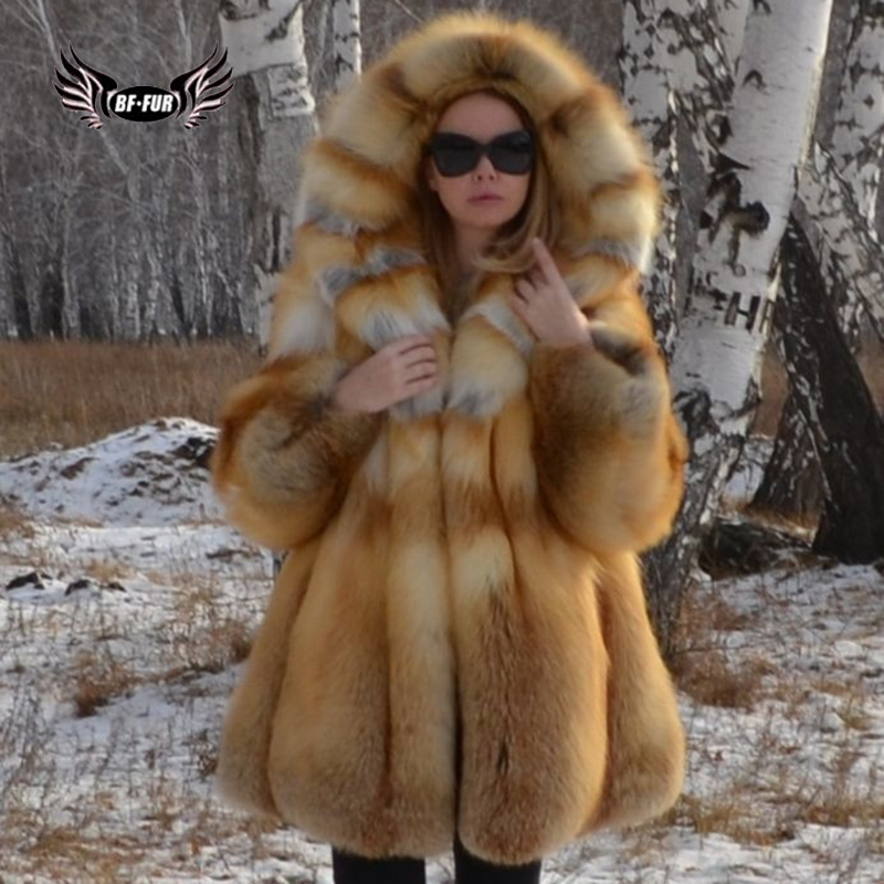 BFFUR Real Fur Fox Womens Coat 2019 Winter New Jackets Genuine Leather Plus Size Fashion Clothing Female Winter Palace Outerwear