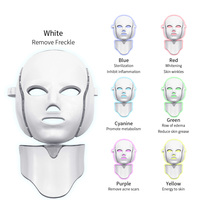 New 7 Colors Light LED Facial Mask With Neck Skin Rejuvenation Face Care Treatment Beauty Anti Acne Therapy Whitening Machine