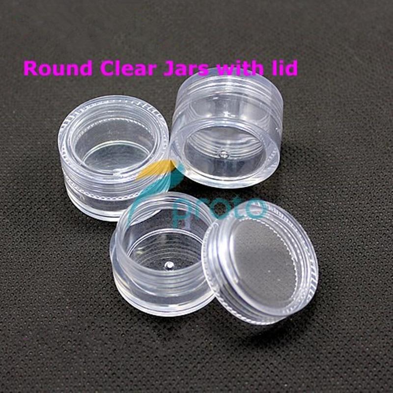 200pcs 5g small clear round bottle jars with lids hard plastic pot nail art storage wholesale. Black Bedroom Furniture Sets. Home Design Ideas