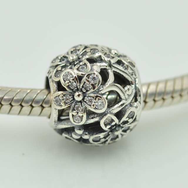 Fits Pandora Charms Bracelet 925 Sterling Silver Bling Dazzling Daisy Flower Charm Beads Diy Fashion