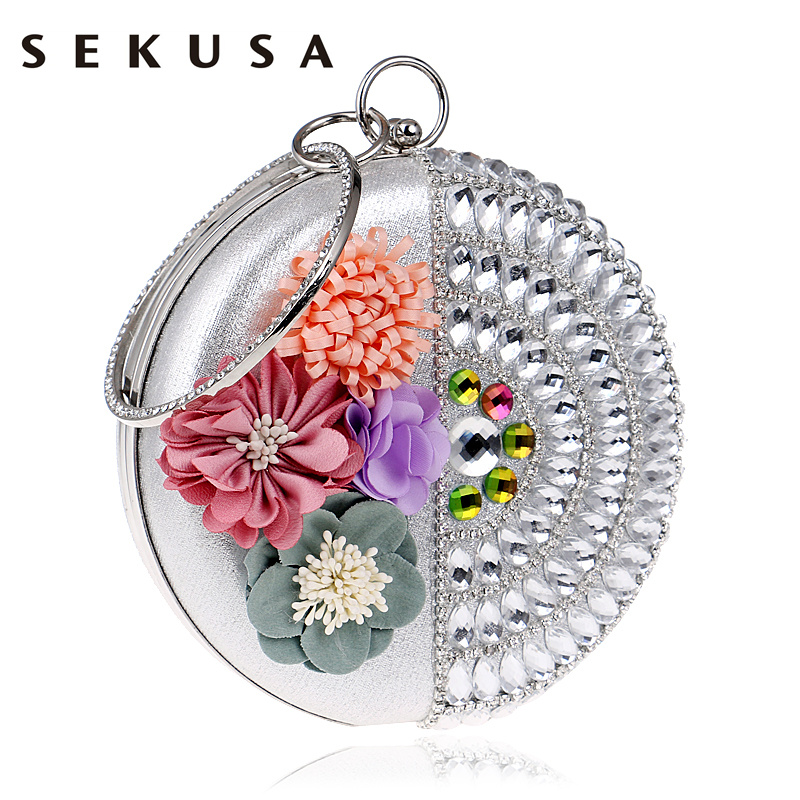 SEKUSA Women Clutch Flower Diamonds Lady Evening Bags Round Shaped Rhinestones Handmade Beaded Chain Shoulder Purse Evening Bags leaf shaped beaded detail chain bangle anklet