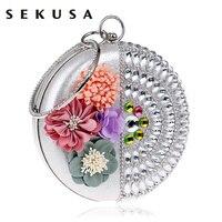 SEKUSA Women Clutch Flower Diamonds Lady Evening Bags Round Shaped Rhinestones Handmade Beaded Chain Shoulder Purse Evening Bags