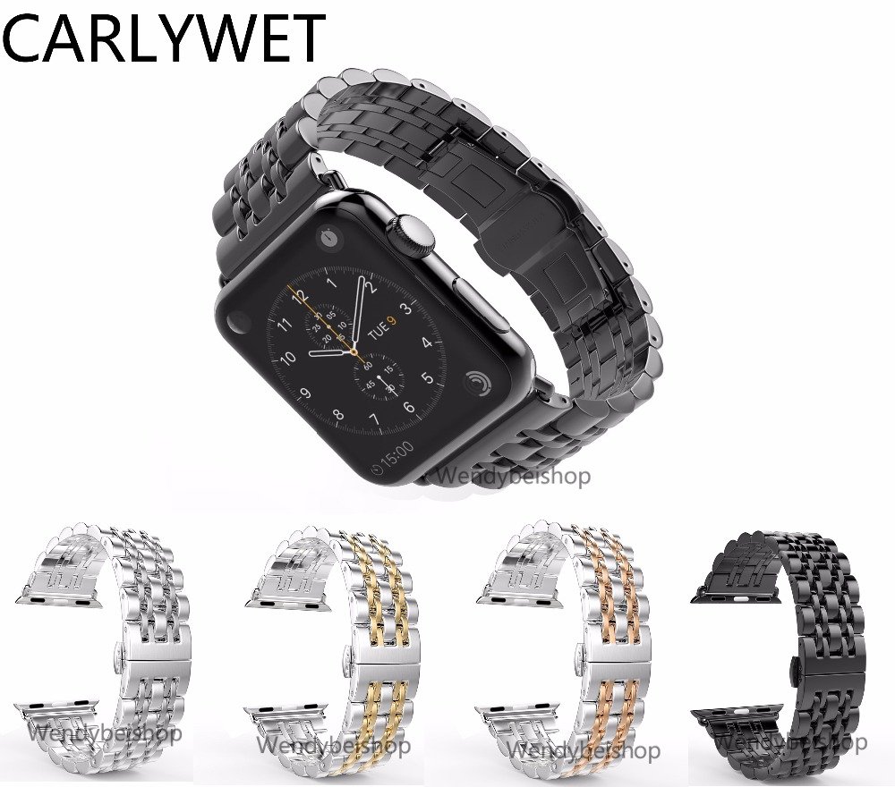 все цены на CARLYWET 38mm 42mm Stainless Steel Watch Strap Band Connector Adapter Silver Black Rose Gold Replacement For Smart Apple iWatch онлайн